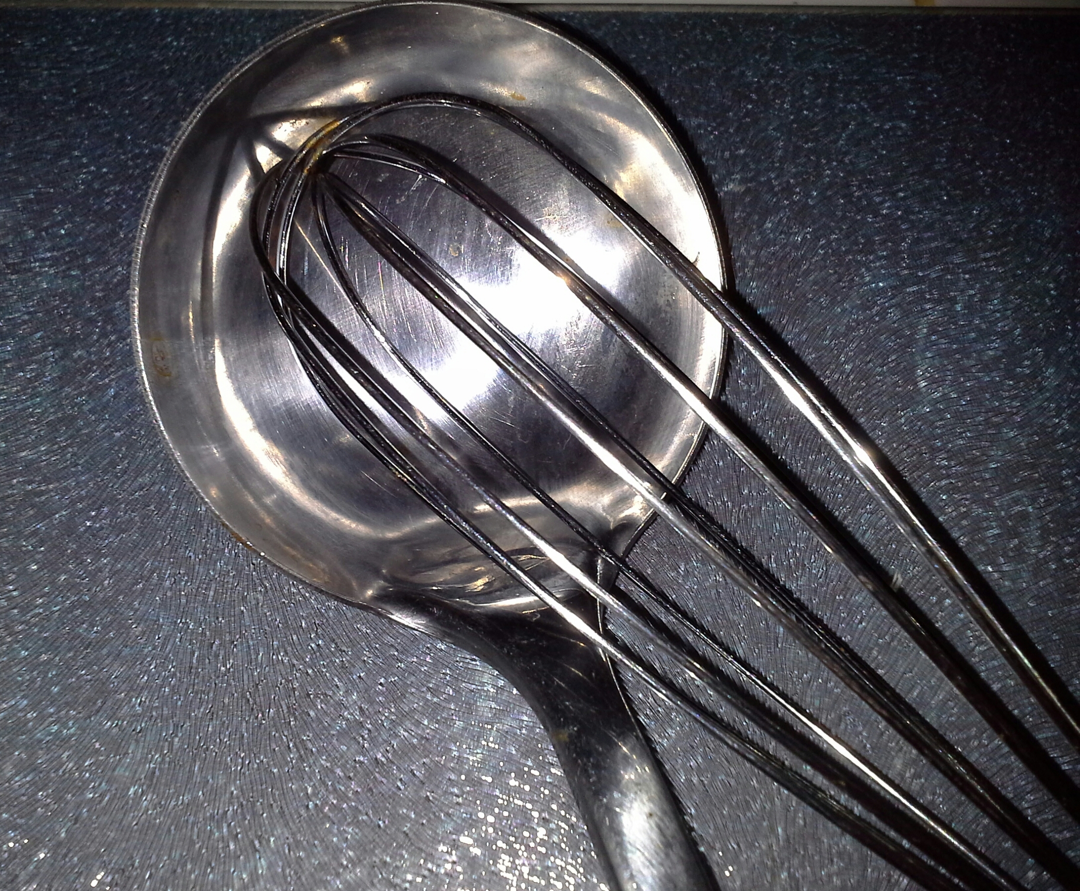 Ladle and egg whisk