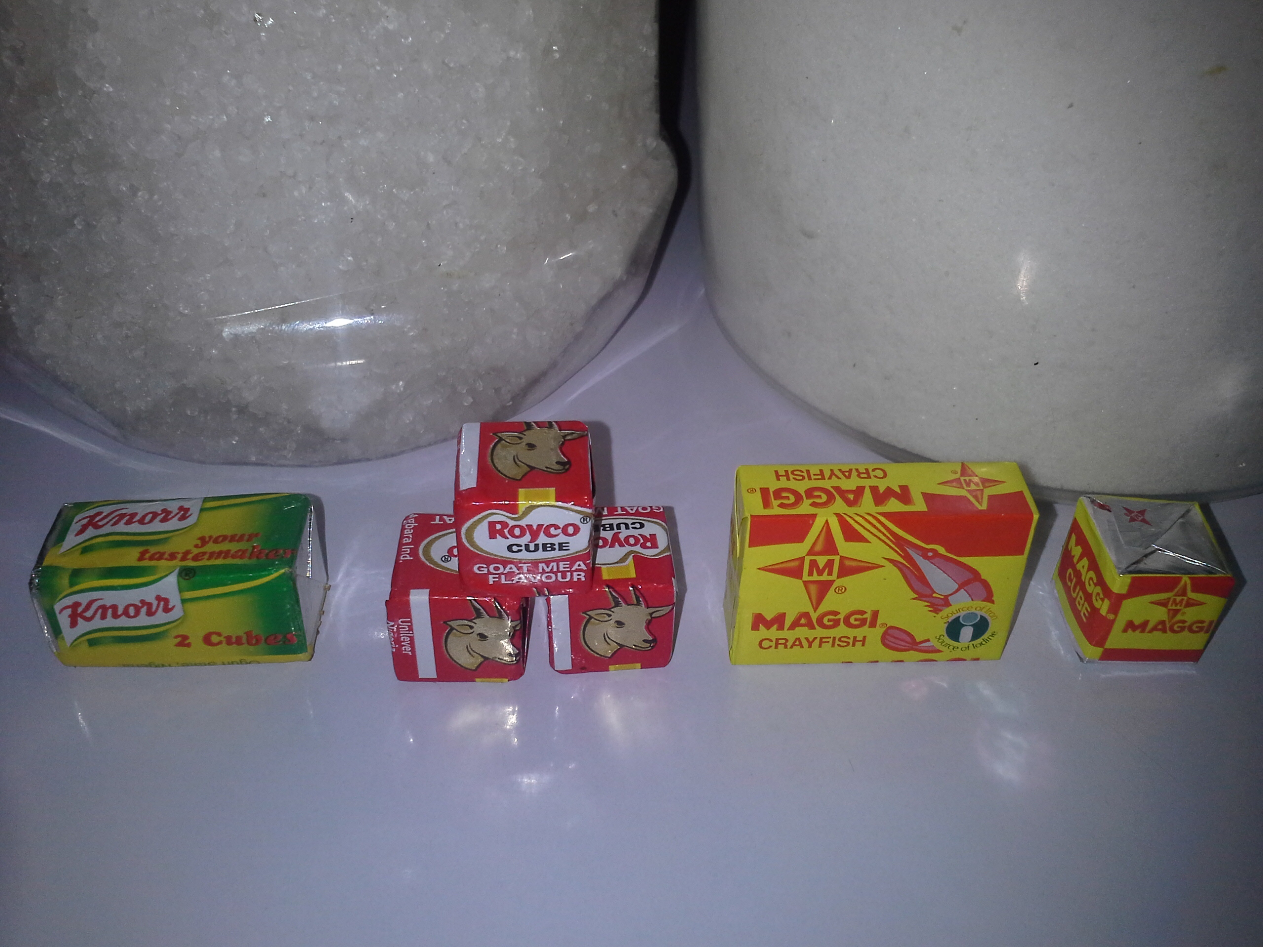 Kosher salt, regular table salt and seasoning cubes